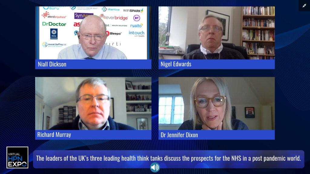 Nigel Edwards, Richard Murray and Dr Jennifer Dixon speaking at Virtual HPN Expo